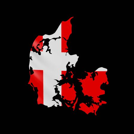 Hanging Denmark flag in form of map. Kingdom of Denmark. National flag concept. Vector illustration.