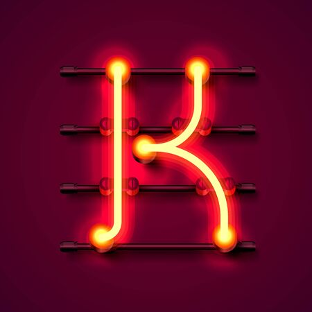 Neon font letter K, art design signboard. Vector illustration