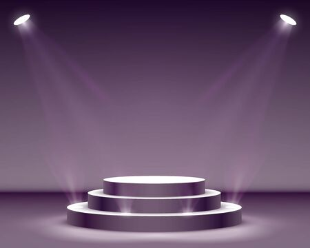 Stage podium with lighting, Stage Podium Scene with for Award Ceremony on black Background, Vector illustration