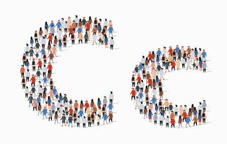 Large group of people in letter C form. Vector seamless background  イラスト・ベクター素材