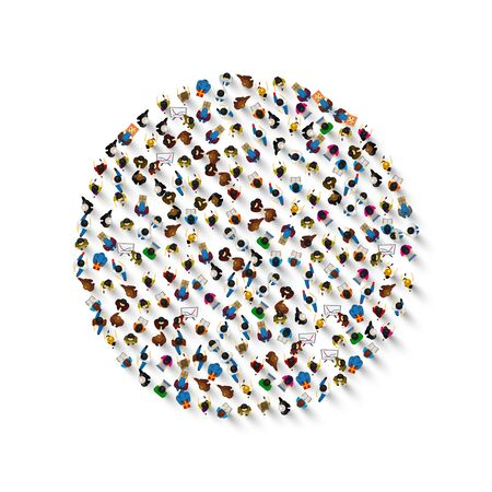 A group of people in a shape of circle icon, isolated on white background . Vector illustration