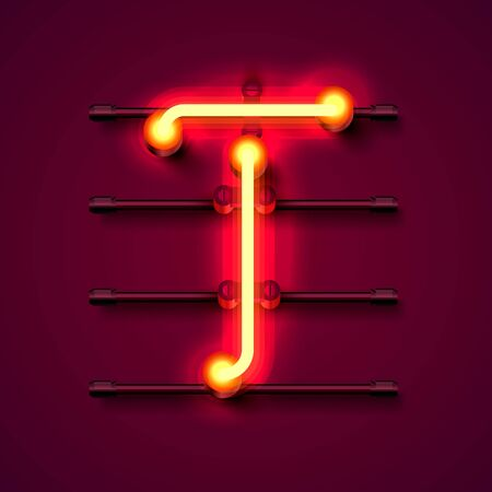 Neon font letter T, art design signboard. Vector illustration