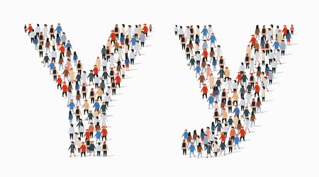 Large group of people in letter Y form. Vector seamless background  イラスト・ベクター素材