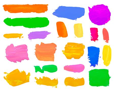 Color set paint draw brush on the white background. Vector illustration Illustration