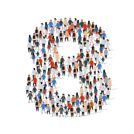 Large group of people in number 8 eight form. Vector illustration