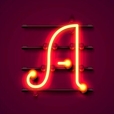 Neon font letter a, art design signboard. Vector illustration  イラスト・ベクター素材