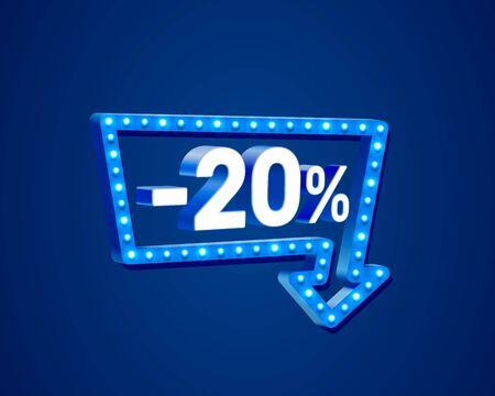 Banner 20 off with share discount percentage, neon signboard arrow. Vector illustration Archivio Fotografico - 129548088
