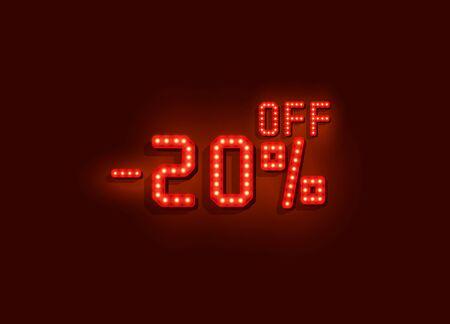 Neon 20 sale off text banner. Night Sign. Vector illustration Archivio Fotografico - 129548134