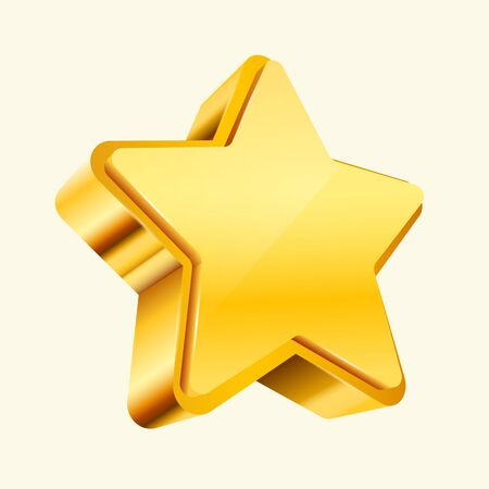 Golden star isolated on white Background. Christmas, or award sign. Vector ililustration