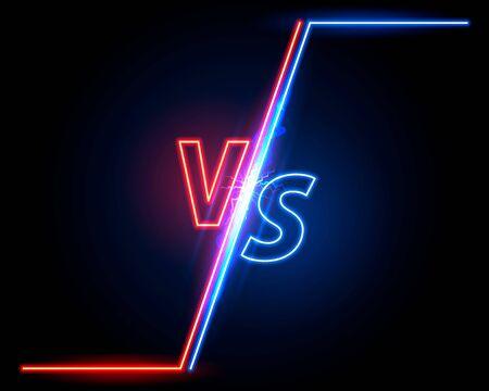 Versus couverture de jeu, sport de bannière néon vs, concept d'équipe. Fond d'illustration vectorielle Vecteurs