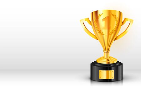 Realistic Golden Trophy with text place. Vector Illustration Illustration