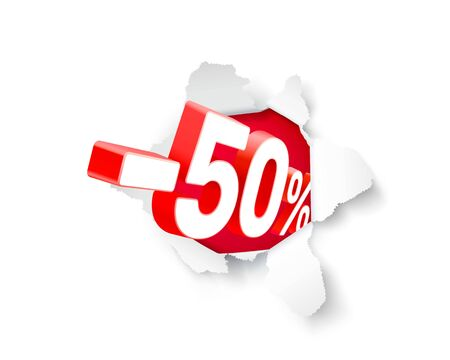 Paper explosion banner 50 off with share discount percentage. Vector illustration Иллюстрация
