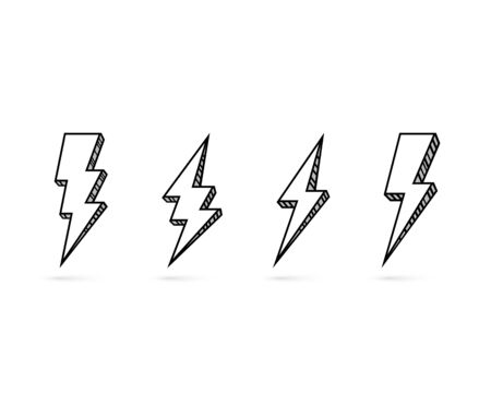 Electric lightning, set of icons on a white background. Vector illustration Vettoriali