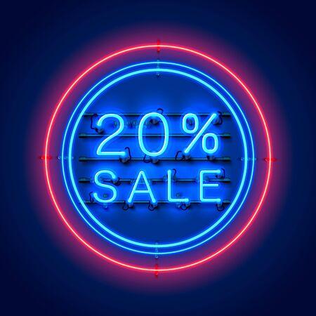 Neon 20 sale text banner. Night Sign. Vector illustration Archivio Fotografico - 129548356