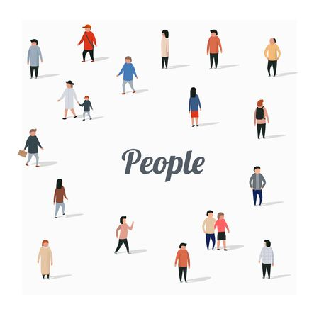 Large group of walking people. flat cartoon characters. Vector illustration