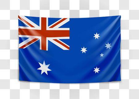 Hanging flag of Australia. Commonwealth of Australia. National flag concept. Vector illustration.