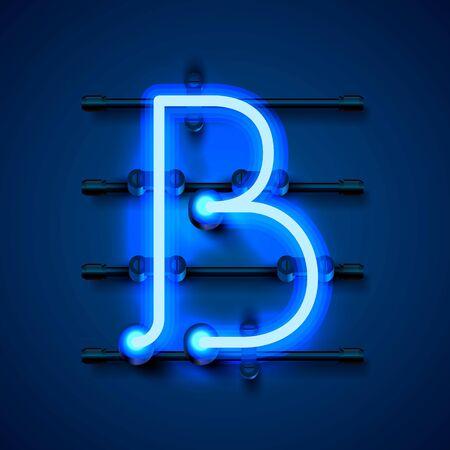 Neon font letter b, art design signboard. Vector illustration