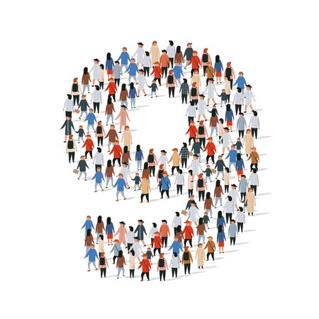 Large group of people in number 9 nine form. Vector illustration  イラスト・ベクター素材