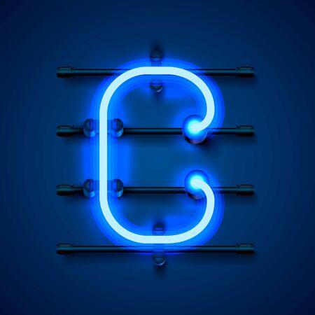Neon font letter c, art design signboard. Vector illustration
