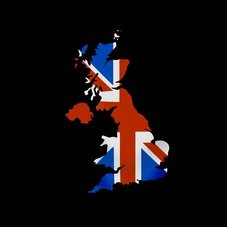 Great Britain flag in form of map. United Kingdom of Great Britain and Northern Ireland. British national flag concept. Vector illustration. Stock Illustratie