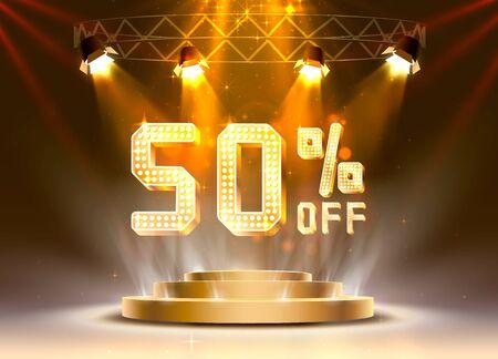 Scene golden 50 sale off text banner. Night Sign. Vector illustration Illustration