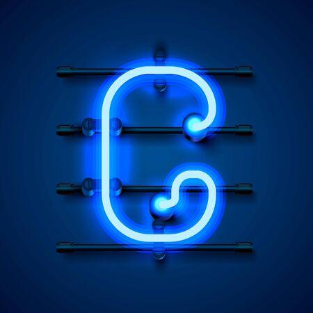 Neon font letter g, art design signboard. Vector illustration  イラスト・ベクター素材