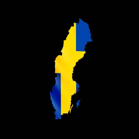 Hanging Sweden flag in form of map. Kingdom of Sweden. National flag concept. Vector illustration. 일러스트