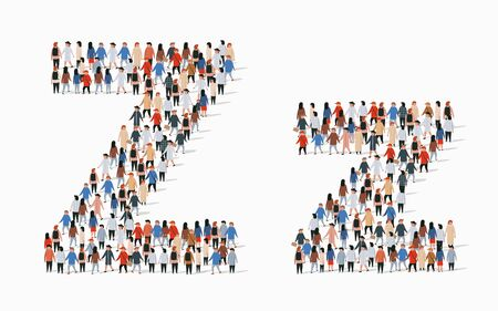 Large group of people in letter Z form. Vector seamless background  イラスト・ベクター素材