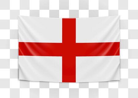 Hanging flag of England. England. National flag concept. Vector illustration