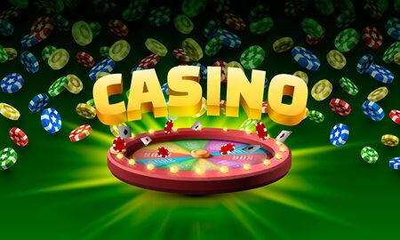 Casino fortune wheel. isolated on green background. Vector illustration 写真素材 - 129876748