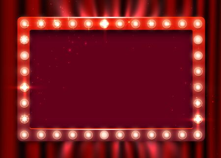 Retro light sign. Vintage style banner on curtain background. Show time concept. Vector illustration Stock Illustratie