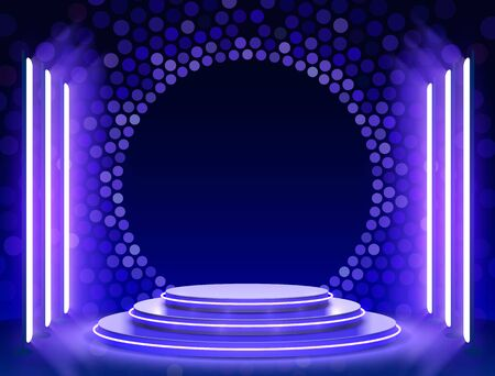 Bühnenpodest mit Beleuchtung, Bühnenpodest-Szene mit für Preisverleihung auf blauem Hintergrund, Vektorillustration Vektorgrafik