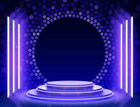 Podio del palco con illuminazione, scena del podio del palco con per la cerimonia di premiazione su sfondo blu, illustrazione vettoriale Vettoriali