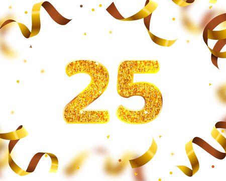 Anniversary Banner 25th, Gold Ribbon Fly. Vector illustration Illustration