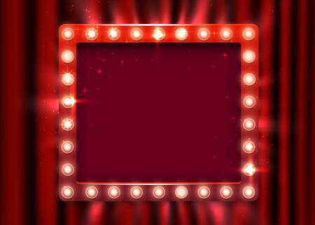 Retro light sign. Vintage style banner on curtain background. Show time concept. Vector illustration Illustration