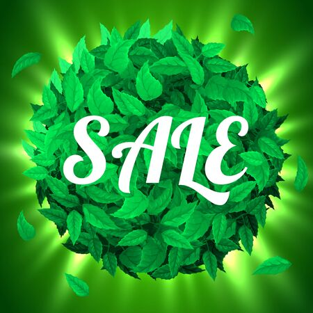 Summer or spring sale. Background with fresh green leaves. Leaf concept. Vector illustration Stok Fotoğraf - 129813699