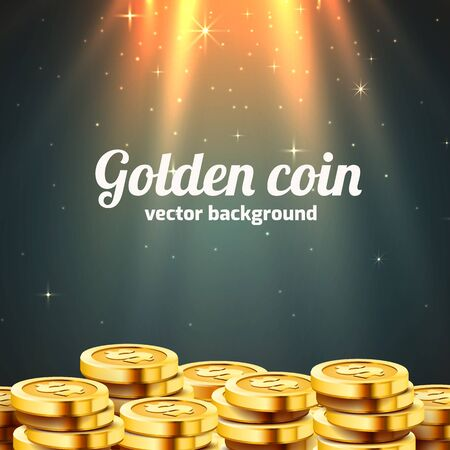 A lot of coins with light beam. Jackpot or success concept. Modern background.