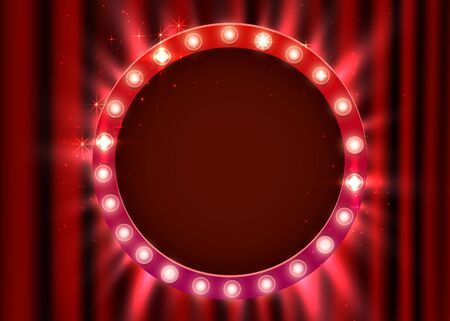 Retro light sign. Vintage style banner on curtain background. Show time concept.