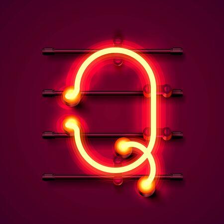 Neon font letter Q, art design signboard. Vector illustration  イラスト・ベクター素材
