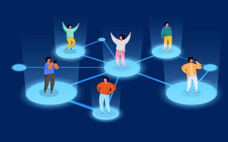Connecting people. Social network concept. Refer a friend program. Vector illustration Illustration
