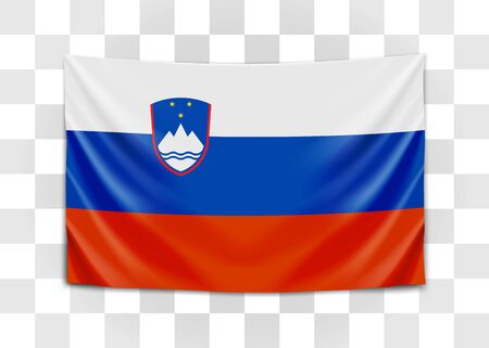 Hanging flag of Slovenia. Republic of Slovenia. National flag concept. Vector illustration. Imagens - 129878015