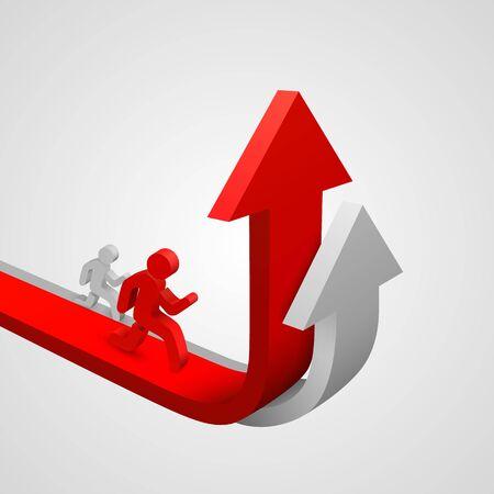 Arrow red business growth art info. Vector illustration