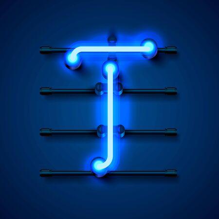 Neon font letter T, art design signboard. Vector illustration