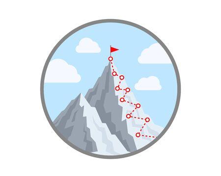 Wanderung zum Gipfel des Berges. Vektor-Illustration