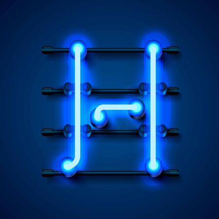 Neon font letter h, art design signboard. Vector illustration
