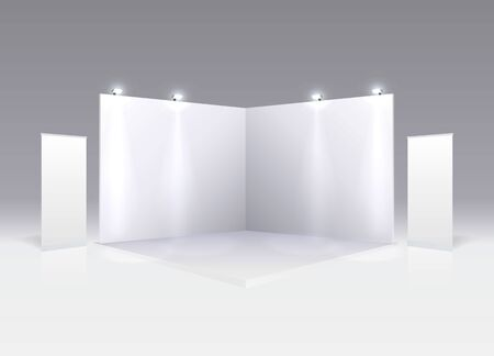 Scene show Podium for presentations on the gray background. Vector illustration Foto de archivo - 129878554