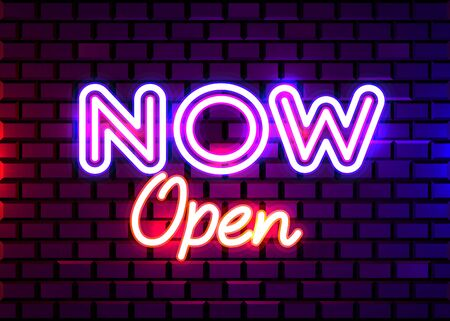 Now Open neon text vector design template. Now Open neon light banner design element, night bright advertising, bright sign. Vector illustration