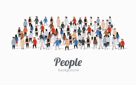 Template for advertising brochure with people crowd in shape of rectangle. Vector illustration