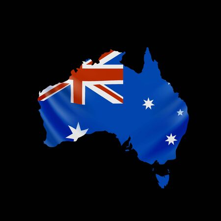Hanging Australia flag in form of map. Commonwealth of Australia. National flag concept. Vector illustration.