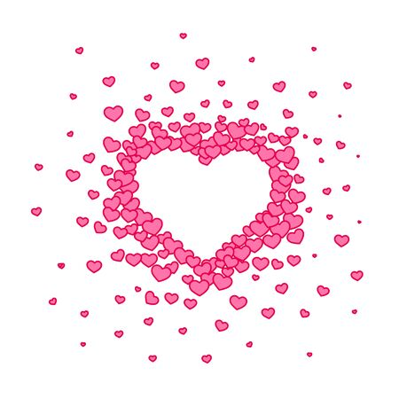 Pink hearted background with a Valentines Day title on it. Vector illustration. Archivio Fotografico - 129879825